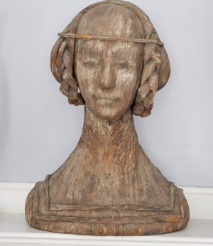 Antique Paper Mache Bust of Young Colonial Girl - Product Image