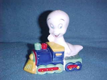Casper the Friendly Ghost riding a train Salt & Pepper Shakers.  Made by Star Jars - Product Image
